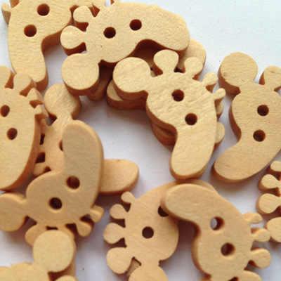 100 sztuk przycisk do szycia Scrapbooking stopy kształt dwóch otworów 20mm 2-otwory DIY przyciski dla dzieci akcesoria do szycia