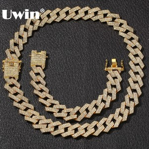 Image 1 - UWIN NE+BA 20mm Miami Prong Cuban Chain 3 Row Gold Color Full Iced Out Rhinestones Necklace & Bracelet Mens Hiphop Jewelry Set