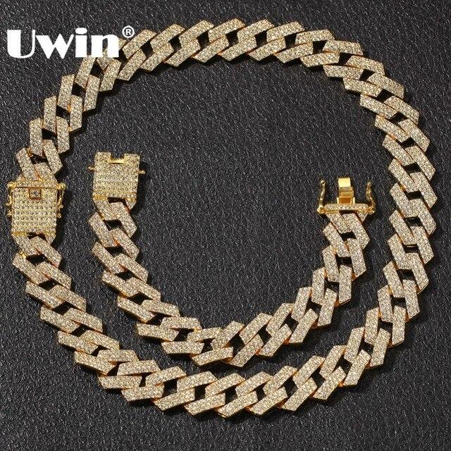 809e77ecfdba UWIN NE + BA 20mm Miami Prong cadena cubana 3 filas de oro Color completo  con diamantes imitación collar y conjunto joyería Hiphop para hombre