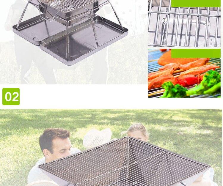 Aço inoxidável dobrável churrasqueira a carvão portátil