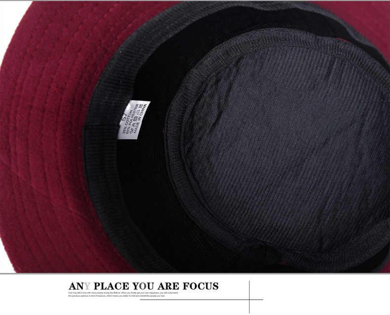 Sombrero de fieltro de Fedora de moda nuevo sombrero negro de lana rosa flor protege la oreja caliente Bowler de invierno Floppy señoras Iglesia Cloche sombreros