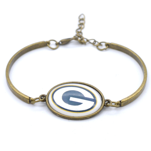 Green Bay Packers Charms Leather Bracelets Sports Football Silk Bracelet Metal Bangle For Women Men Fashion 2017