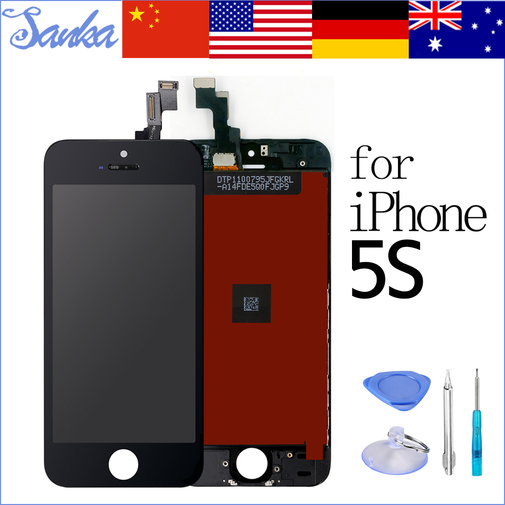 SANKA Replacement For iPhone 5S Screen LCD Display Touch Screen Digitizer Assembly Front Glass Ecran Pantalla LCD Screen Black