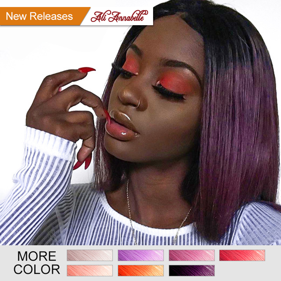 ALI ANNABELLE Short Lace Front Human Hair Wigs Brazilian Remy Hair 13*6 Bob Wig With Pre Plucked Hairline Bleached Knots