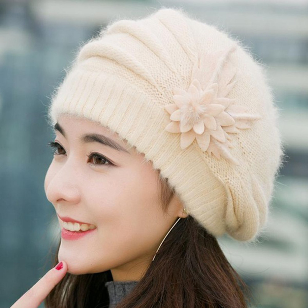 Beanies Women's Winter Hats For Women Knitted Girls Bonnet Caps Winter Lady Hats Brand Wool Fur Beanie Flower Skullies Hat 2017 real mink pom poms wool rabbit fur knitted hat skullies winter cap for women girls hats feminino beanies brand hats bones
