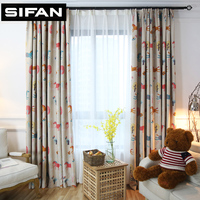 High Quality Cartoon Animal Tree Flower Printed Blackout Curtains For Kids Room Girls Boys Baby Bedroom