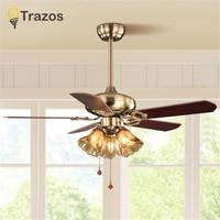 Ventilateur de plafond Ceiling Light Fan Wood Pull rope Decorative Ceiling Fans Grass Lampshade Fan Lamp Ventilador De Techo