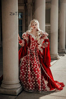 Vintage Medieval Fantasy Quinceanera Dresses Victorian Halloween Ball Gown Prom Dresses Quinceanera Robes Soiree Red Party Gown