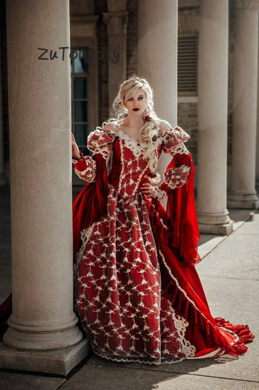 Vintage médiéval fantaisie Quinceanera Robes victorien Halloween robe de bal Robes de bal Quinceanera Robes de soirée robe de soirée rouge