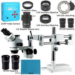3.5 ~ 90X Simul Focale Trinoculare zoom Microscopio + 21MP 2 K HDMI Microscopio Della Macchina Fotografica Doppia Boom Stand Per PCB saldatura di riparazione