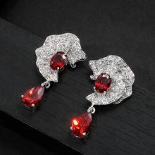 Серьги капельки bilincolor модные красные наполненные кубическим
