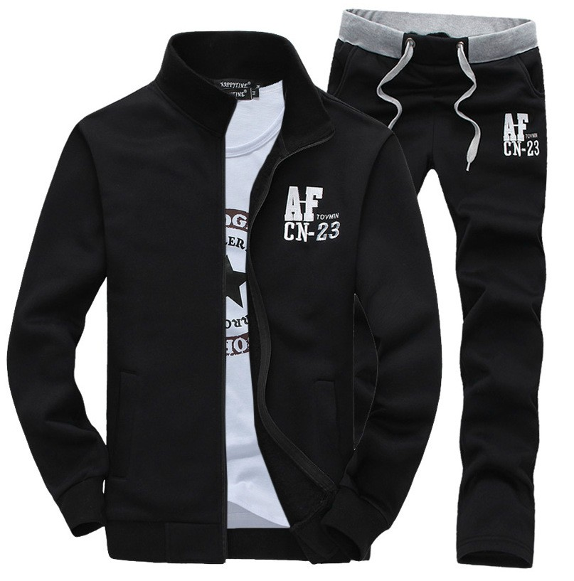 Nowy Cienki Sweterek Zamek Marka Sporta Kostiumu Dres Mężczyzn AF Bluzy Bluza + Spodnie Jogging Kostium 2 sztuk Zestaw Plus rozmiar M-3XL 5