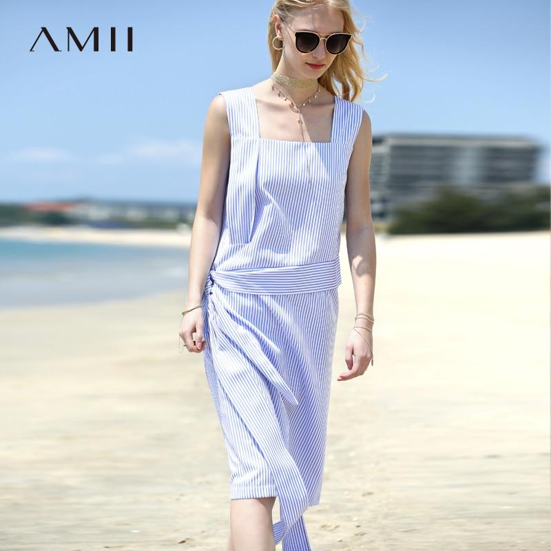 Amii Women Minimalist Dress 2018 Summer Stripe Sleeveless Square Collar Straps Female Dresses-in Dresses from Women's Clothing    1