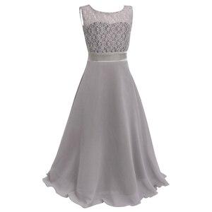 Image 4 - פרחוני תחרה פרח ילדה שמלות שיפון ללא שרוולים שמלת בנות מקסי שמלה לחתונה מסיבת תחרות נסיכת Vestidos נשף