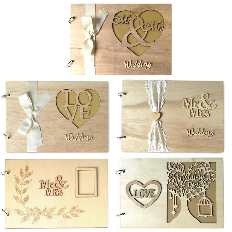 Wooden Guest Book Signs Rustic Wedding Romantic Marriage Guestbook Wedding Album Gift For Couple