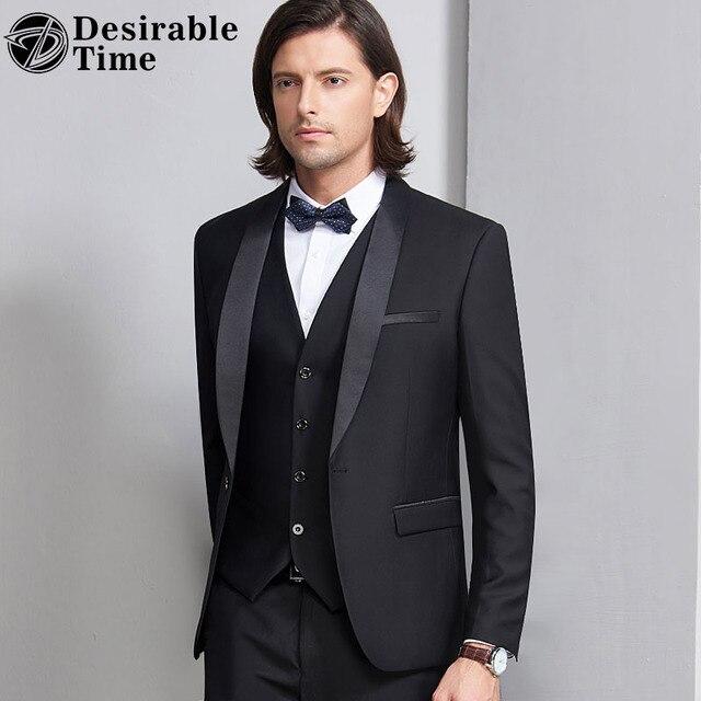 10e3044619 Desirable Time Men Tuxedo Suit Black S-4XL Shawl Collar 3 Pieces Dress Suit  Slim Fit Groom Wedding Suits for Men DT226