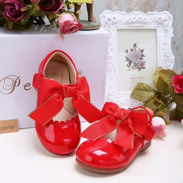 Pettigirl nuevos diseños niñas bow shoes shoes 5 colores de microfibra de cuero hechos a mano niños shoes (sin caja de zapatos)