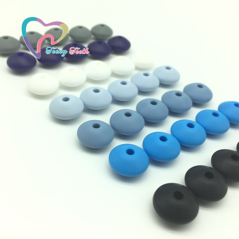 Teeny Teeth 100 PCS Silicone Teething Abacus Beads DIY Nursing Teething Necklace Colorful Lentils Silicone Teether Abacus Beads