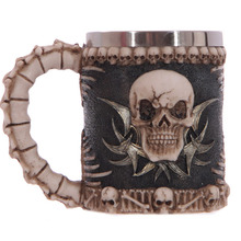 New Cool Resin Stainless Steel 3D Skull Pirate Knight Drinking Mug with Hand Grip Funny Creative Coffee Cups and Mugs
