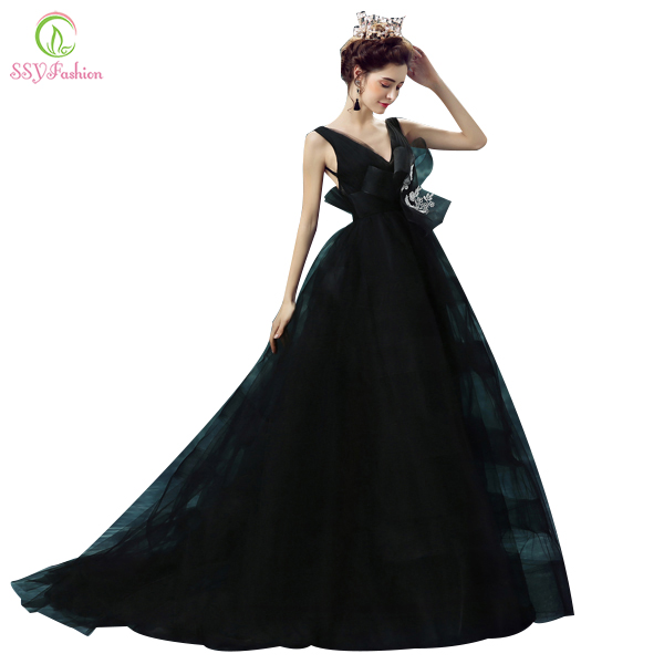 Robe De Soiree SSYFashion Sexy Black Deep V neck Princess Bride Prom Dress Backless Long Evening