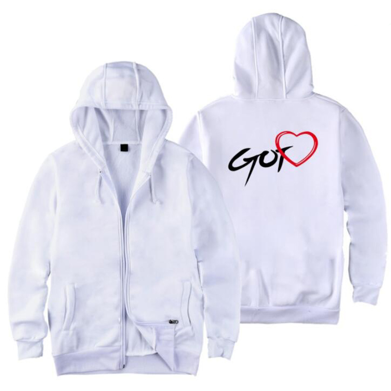 K POP K-POP GOT 7 GOT7 Zip Up Harajuku Hoodies Sweatshirt Women Letter Printed Zipper Hooded Jacket Coat Outwear KPOP Clothes