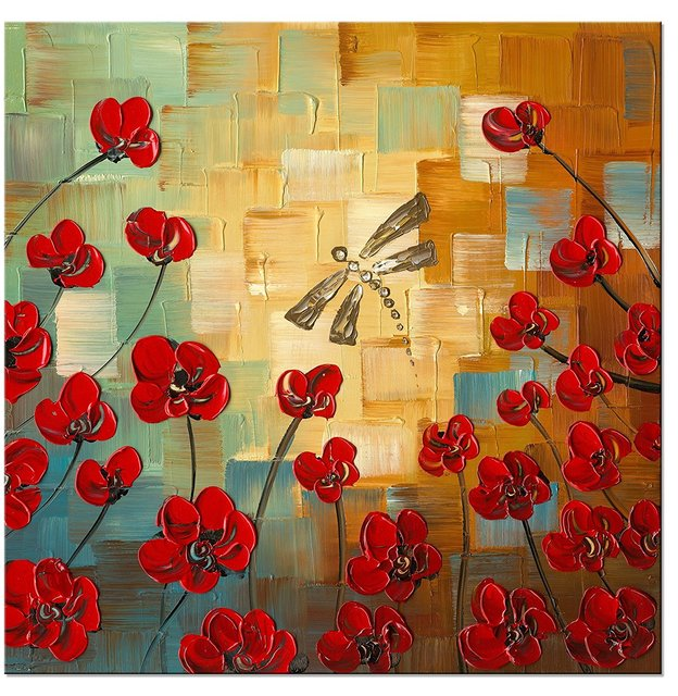 Dragonfly Modern Flowers Artwork 100% Hand Painted Stretched and ...