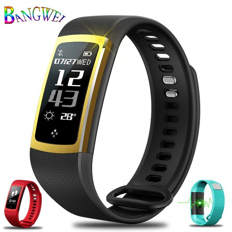 Children's Watches Bangwei New Fitness Smart Bracelet Real-time Heart Rate Monitor Sleep Monitoring Waterproof Watch Men Women Smart Wristband+box Cheap Sales 50%