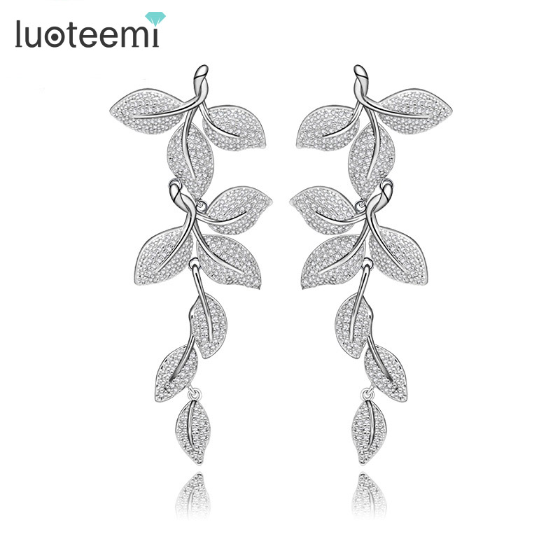 LUOTEEMI 2016 New Elegant Leaf Shape Drop Earrings Statement Små CZ Vit Färg Noble Bridal Wedding Dangle Brincos Smycken