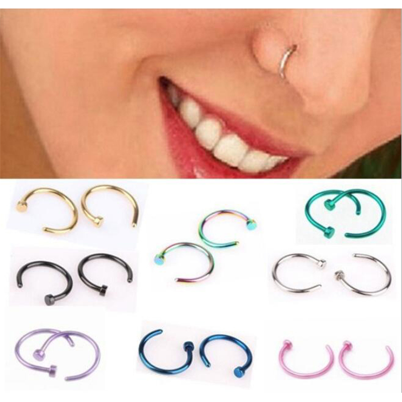 Fake Septum Medical Titanium 8mm Nose Ring 316L Stainless Steel  Body Clip Hoop For Women Septum Piercing Clip Jewelry one piece(China)