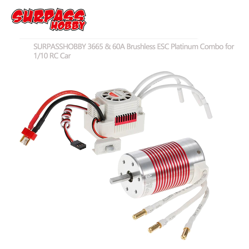 SURPASSHOBBY Platinum Waterproof Combo 3665 3100KV 2600KV 2100KV Brushless Motor w/ 60A ESC for Traxxas Axial HSP Redcat 1/10-in Parts & Accessories from Toys & Hobbies