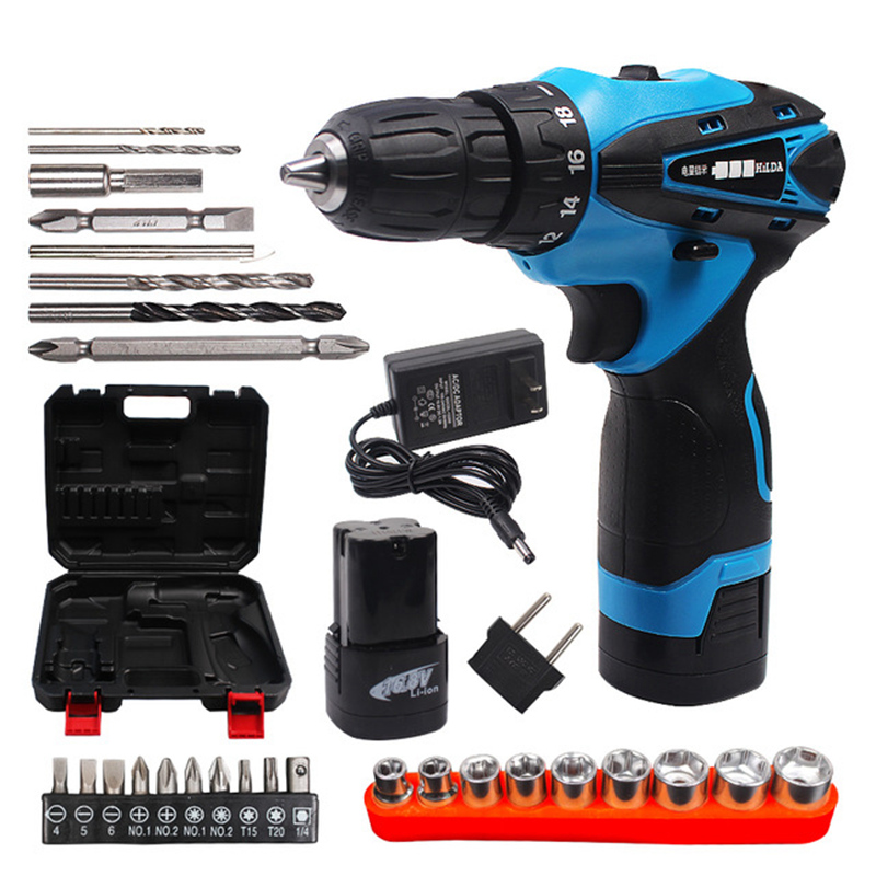 16.8V Electric Screwdriver Battery*2 Cordless Screwdriver Rechargeable Parafusadeira Furadeira Electric Drill Plastic case 45pcs drills 4 8v cordless rechargeable reversible electric screwdriver tool set electric screwdriver with plastic case