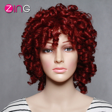 China Rosa Zing Curly Red Wig Afro Kinky Curly Wig Synthetic Women's Wig Kinky Curly Synthetic Wig  Perruque Synthetic Women