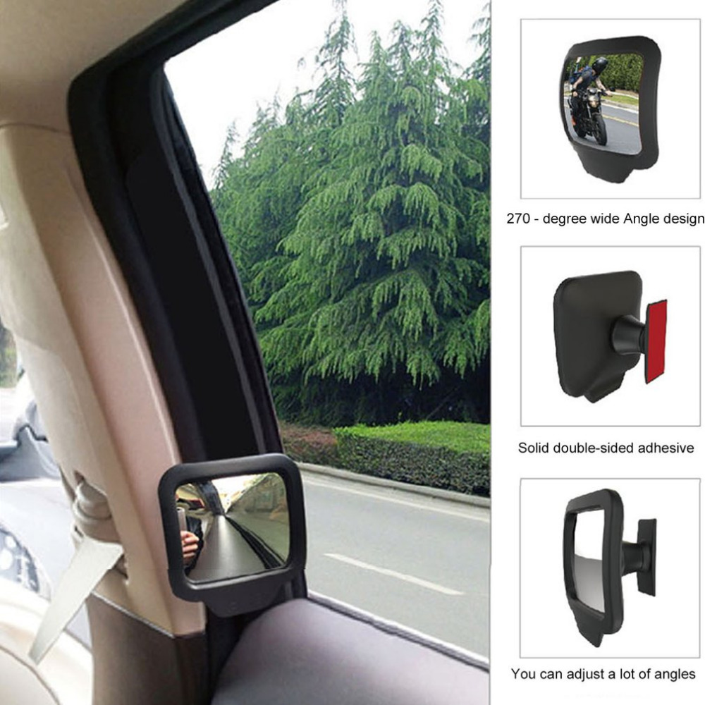 1 Pair Adjustable 270 Degree Wide Angle Lens Design Car Rear Seat Rearview Mirror Backseat