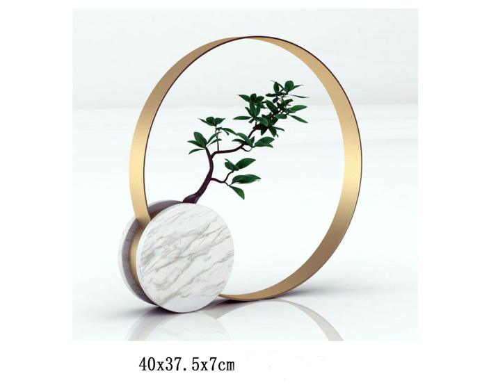 Marble stand metal shelf flower vase modern hotel stone vase luxury art design decor with tree
