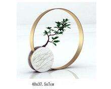 Marble stand metal shelf flower vase modern hotel stone luxury art design decor with tree