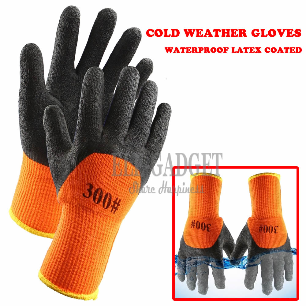 1Pair Winter Waterproof Work Safety Thermal Gloves Anti-Skidding Latex Rubber Garden Gloves For Worker Builder Hands Protection цена