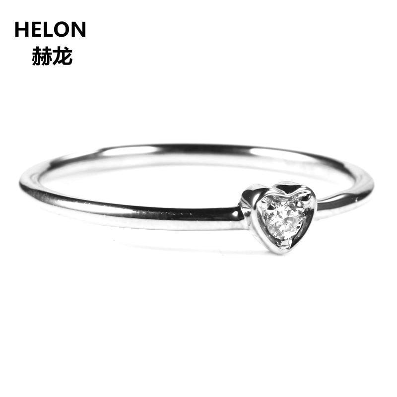 Solid 18 k White Gold VS/H Natuurlijke Diamanten Verlovingsring Wedding Band Trendy Hart Vrouwen Fijne Sieraden