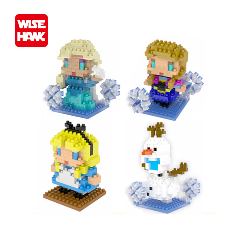 WISEHAWK nanoblocks Kawaii anime Snow Queen action figures plastic building blocks bricks educational toy game for kids gifts.