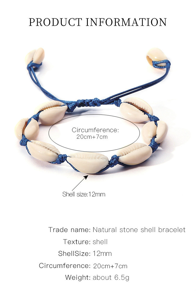 Женский плетеный браслет из ракушек и натуральной ракушки