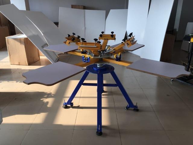 Manual de 4 colores 4 estación rotativa camiseta máquina de impresión de pantalla