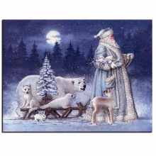 Diamond Painting High Quality Canvas Anti-Wrinkle Santa Claus and Polar Animals Diy Mosaic Embroidery Cross Stitch New Year Gift