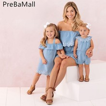 Off Shoulder Mother Daughter Dress Fashion Family Set Mom and Dresses Clothes Matching Outfits Clothing C178