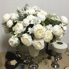 Имитация пиона букет искусственных цветов для дома украшение свадебного стола Флорес Искусственные Шелковые Белые пионы поддельные цветы