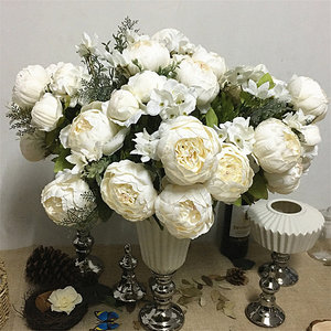 Simulation peony bunch Artificial flowers for home table Wedding decoration flores artificiales silk white peonies fake flower