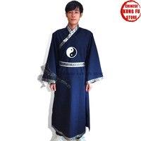 Индивидуальный заказ красивые Удан даосский священник длинные кунг фу халат с Ремни и Вышивка даосизма культуры
