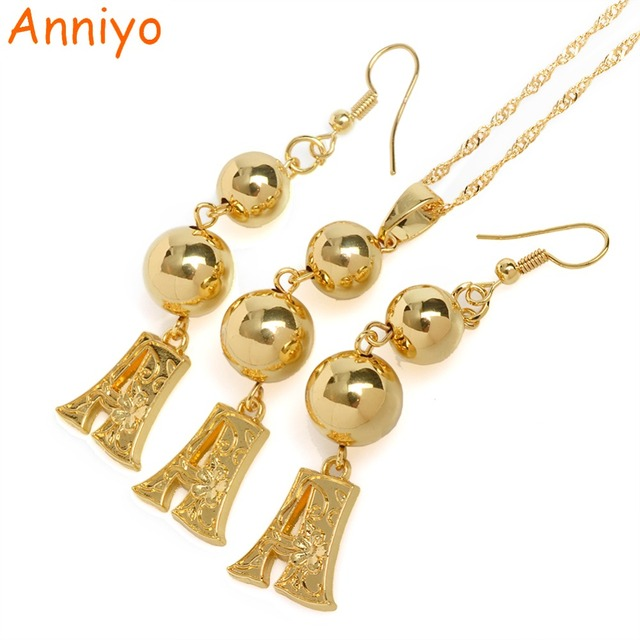 Anniyo a z gold color letters bead pendant earrings initial anniyo a z gold color letters bead pendant earrings initial chain for women aloadofball Gallery