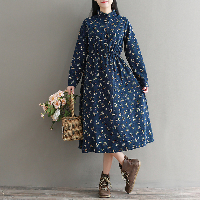 Navy Blue Small Flowers Vintage Dress 2018 New Spring Autumn Women Long Sleeved Long Corduroy Dresses Ruffled Collar Vestidos