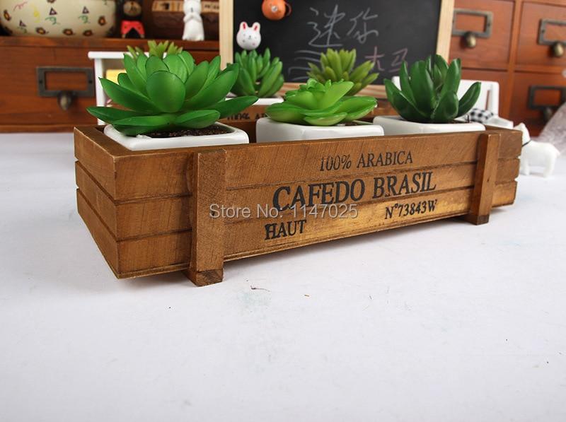 1PC Longming hOme Zakka wooden flowerpot retro wooden gardening fleshy succulent flower wood storage box creative JL 0931 4