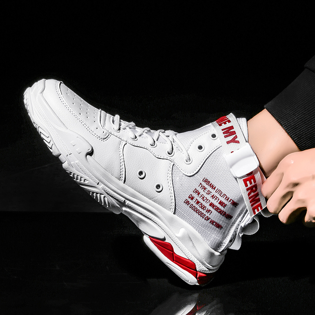US $24 01 50% OFF|Zanvllchy 2019 Fashion New Mens High Top Sneakers Brand  Men Casual Shoes Autumn Breathable White Shoes Red Black Chaussure Homme-in