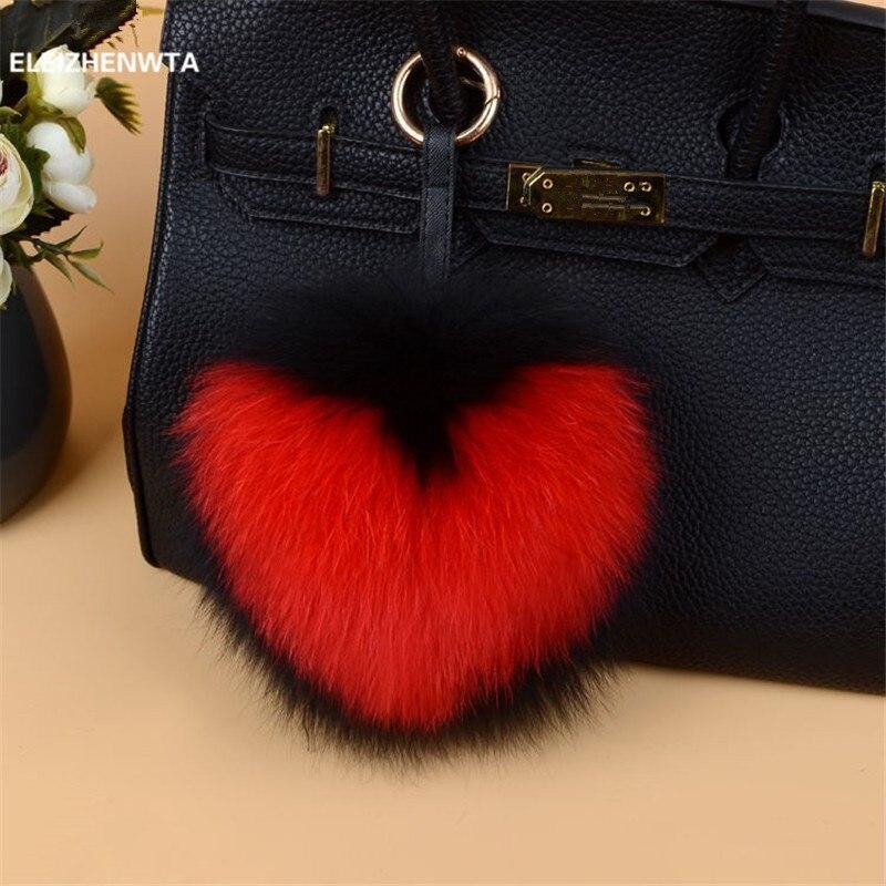 ELEIZHENWTA letter big 15 cm Fox Fur Pom Pom ball keychain fluffy Puffs Bag Charm Heart Pattern Pom Pom Key Chain Women Gift